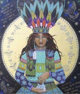 Illustration d'une shamane qui réalise une Cérémonie de Cacao Sacré